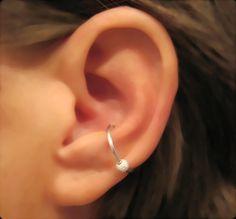 """No Piercing Sterling Silver Conch Ear Cuff """"Moondust"""" Handmade 1 Cartilage Cuff. $12.00, via Etsy."""
