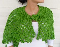 Hand Knitted Shawl Shamrock Capelet Poncho by SmilingKnitting, $49.90