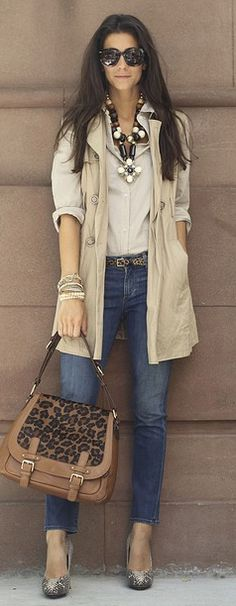 jean, purs, statement necklaces, fashion style, bag, outfit, animal prints, sleeveless trench, leopard