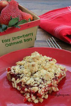 Easy Strawberry Oatmeal Bars Recipe - Thrifty Jinxy