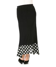 Another great find on #zulily! Black & White Polka Dot Maxi Skirt by Lily #zulilyfinds