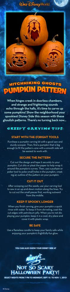 Who better to decorate your doorway than the hitchhiking ghosts? Grab these pumpkin patterns and go to (Halloween) town!