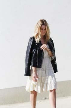 Lace dress and leather jacket