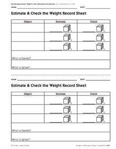 Here's a set of supplemental lessons on nonstandard measurement of weight from the Math Learning Center (Bridges Curriculum).