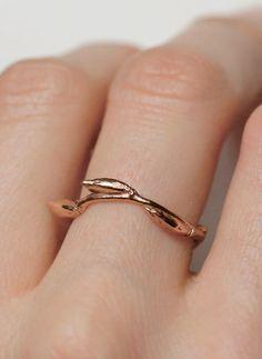 Rose gold twig ring