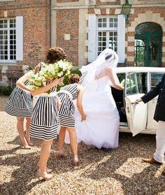 Striped bridesmaid's dresses.