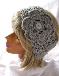 picture crocheted head band with flower