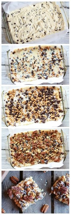 Seven Layer Crumb Bars - layers of coconut, pecans, chocolate chips, butterscotch, and walnuts!