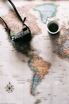 Map, camera, coffee - ready to go. coffe, adventure, world traveler, world maps, beauti, travel bugs, benefitcosmetics, place, cameras