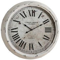 Distressed White Round Clock