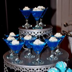 Blue jello for baby boy shower  I think it would be cool to do green!