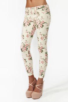 Flowered skinny jeans