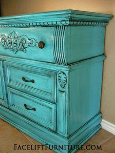 Turquoise Dresser with Black Glaze. See how this dresser was transformed on the Facelift Furniture DIY blog!