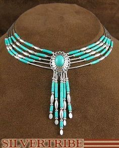 Hand Strung Genuine Liquid Silver Green Turquoise Concho Necklace