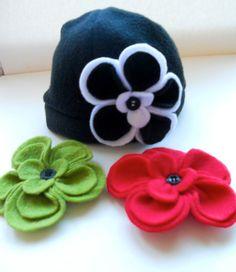 Black White Felt Flower Hat