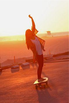 beaches, longboard lifestyl, longboarding, sunset, longboard bro, summer, place, skate girl, skateboard
