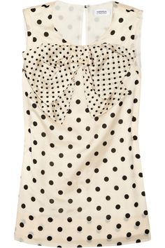 polka dot tank with bow - black and white