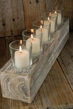 Wood block votive holder