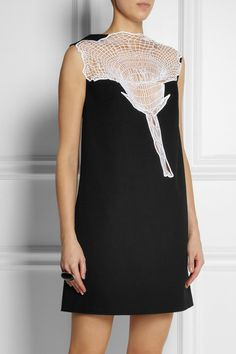 CHRISTOPHER KANE Embroidered-insert wool-crepe dress
