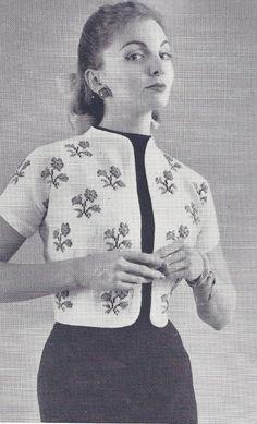 Vintage Bolero Shortie Jacket with Flowers Knitting Pattern