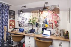 his/hers home office and inspiration board.