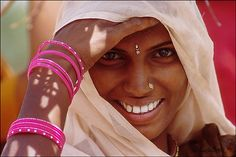 smiling on the way, young indian girl