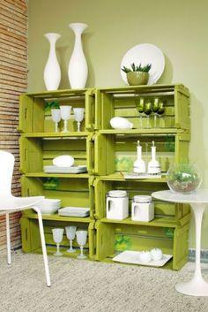 idea, wine crates, color, green, shelving units, pallet, old crates, wooden crates, wood crates