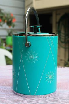 Vintage Mid-Century Modern aqua-turquoise ice bucket