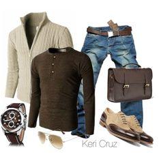 brown cotton henley. cream knit zipper cardigan. jeans. brown belt/bag. wingtip brogues. brown watch. shades. great weekend style.