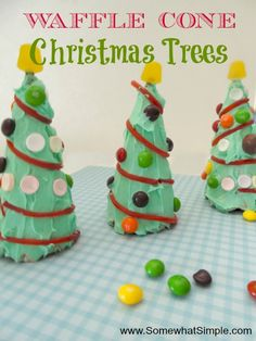 waffle cone christmas trees....next years cheap edible craft for the kids kid food, christmas crafts, christma tree, gingerbread hous, christmas eve, cheap family fun, christma craft, cone christma, christmas trees
