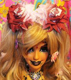 Alice in Wonderland Queen's Rose Flower PAIR by SideShowCouture, $12.00 ooak diy Must have HUGE