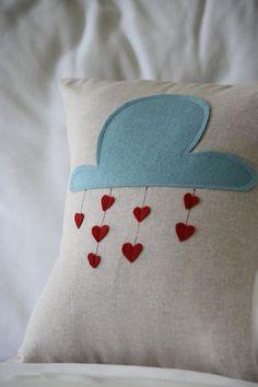 Raining Love Felt Pillow. $42.00, via Etsy.