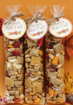 Yummy fall trail mix with free printable gift tag—great Thanksgiving or autumn party favor (Make Bake Celebrate)