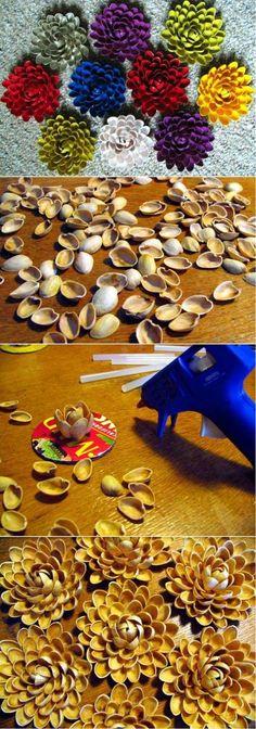project, shell flower, idea, shells, crafti, pistachios, pistachio shell, flowers, diy