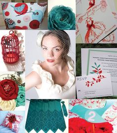 Red and teal wedding inspiration.