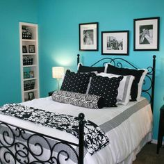 Black white and teal