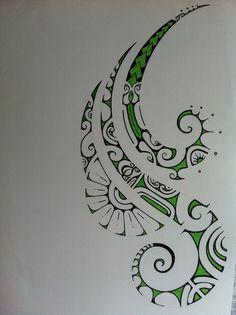 green polynesian tattoo drawing