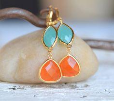 Burnt Orange Teardrop and Turquoise Oval Dangle Earrings.