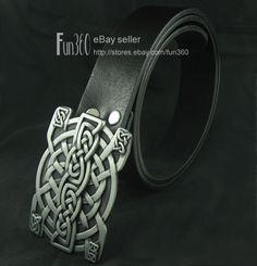 Gothic Celtic Celt Irish Buckle Genuine Leather Belt