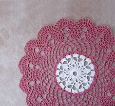 Dusty Rose Pink Crochet Lace Doily, Beautiful Scallop Design, Traditional Home Decor, Handmade