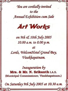 Art gallery invitation wording invitationswedd the 66 best invitation ideas images on art exhibitions stopboris Images