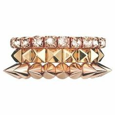 """Add a pop of style to evening ensembles and work outfits alike with this stunning bracelet set, showcasing a rose gold finish and rhinestone accents.  Product: 3-Piece bracelet setConstruction Material: Zinc alloyColor: Rose goldFeatures:  Stretch styleHand-tiedHandmade   Dimensions: 1"""" H x 2"""" Diameter (approximate)Cleaning and Care: Avoid all oils and chemicals (such as lotions, hairspray, makeup and perfumes). Put jewelry on last when getting ready. To clean, wipe with a soft, clean, dry ..."""