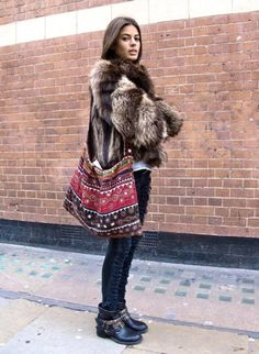bohemian winter outfits, cloth, furs, fashion styles, ankle boots, fur coat, street style, bags, boho bag