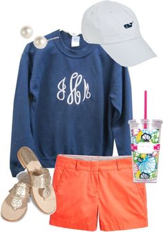 So perfect- chino shorts, monogram, vineyard vines cap, lily Pulitzer tumbler