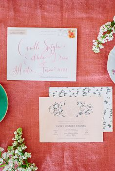 Brunch invitations, Sara Brown for Minted | Calligraphy by Stephanie Fishwick | photo by Wynn Myers