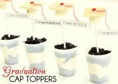 graduation cap toppers graduation caps, graduation treats, graduat cap, white chocolate, graduation ideas, graduation cake, graduat idea, dessert, graduat parti