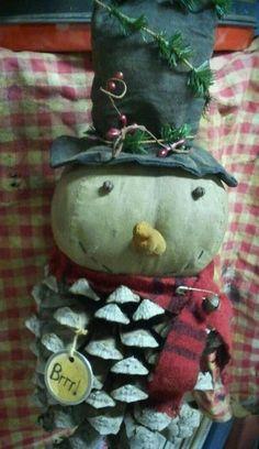 Snowman Pinecone, Handmade USA, Kathy's Holiday, Ocean City, NJ