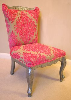 Metallic painted French Provençale high back chair with Hot Pink Damask Upholstery. It really packs a punch of color!