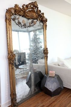 big gold mirror decor, interior, idea, mirror mirror, dream, antique mirrors, hous, style at home, design