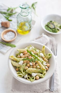 rocket pesto, goat cheese, chickpea penne